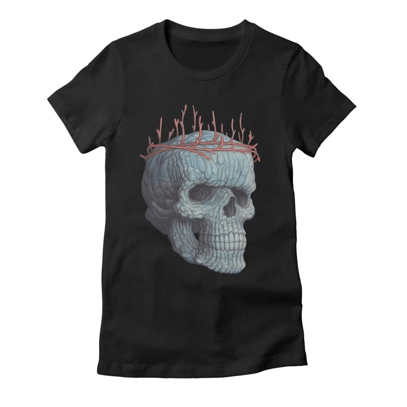 Blue Skull Women's Fitted T-Shirt by Nick Sheehy's Artist Shop