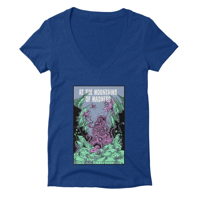 At The Mountains of Madness Women's Deep V-Neck V-Neck by Nick the Hat