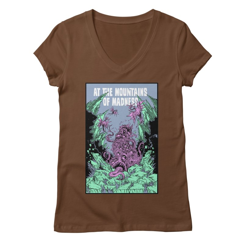 At The Mountains of Madness Women's Regular V-Neck by Nick the Hat