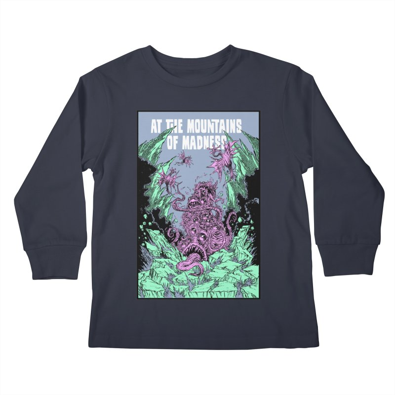 At The Mountains of Madness Kids Longsleeve T-Shirt by Nick the Hat