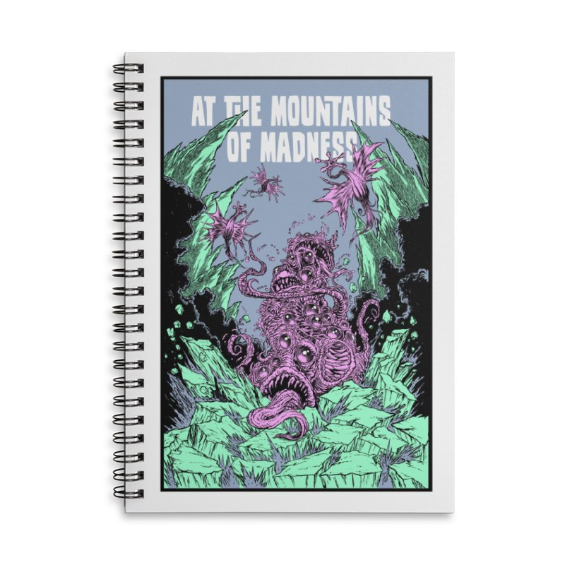 At The Mountains of Madness Accessories Lined Spiral Notebook by Nick the Hat