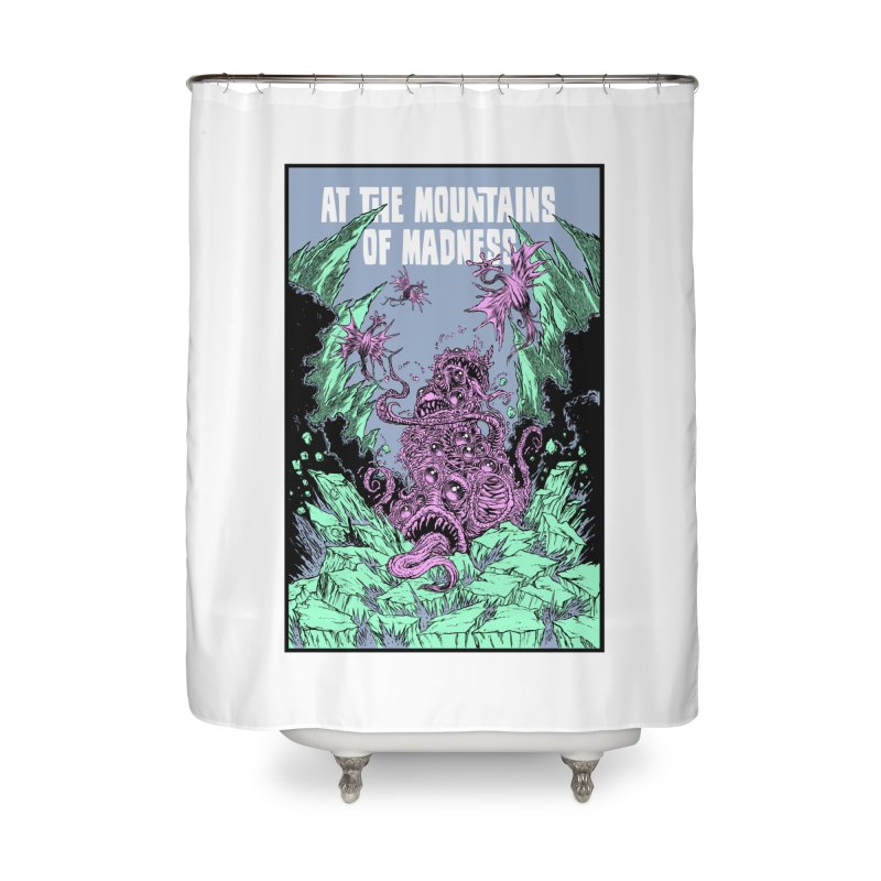 At The Mountains of Madness Home Shower Curtain by Nick the Hat