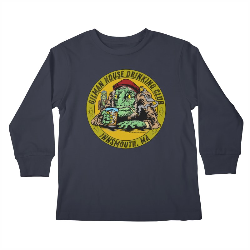 Gilman House Drinking Club Kids Longsleeve T-Shirt by Nick the Hat