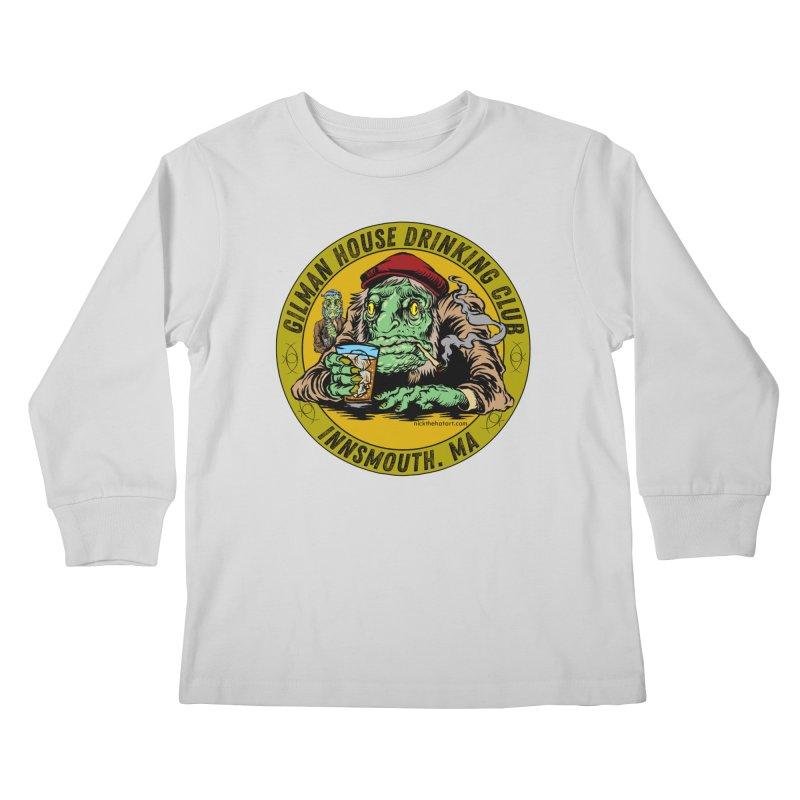 Gilman House Drinking Club Kids Longsleeve T-Shirt by Nick the Hat