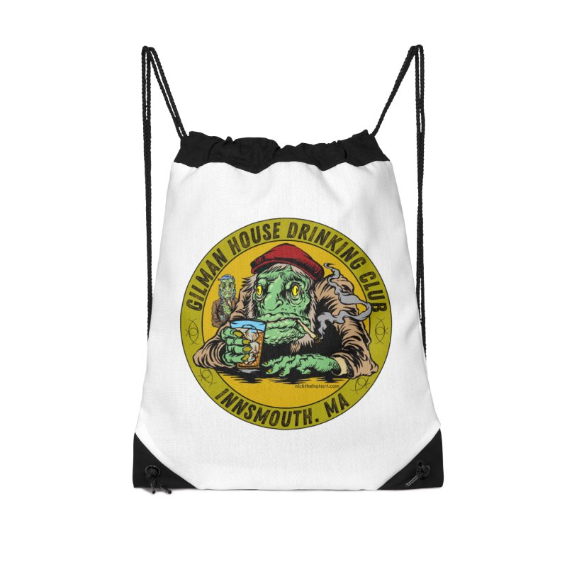 Gilman House Drinking Club Accessories Drawstring Bag Bag by Nick the Hat