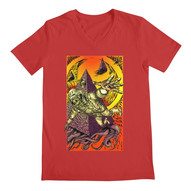 Phantasmonaut Caught in the Tentacles of a Cosmic Paradigm Men's V-Neck by Nick the Hat