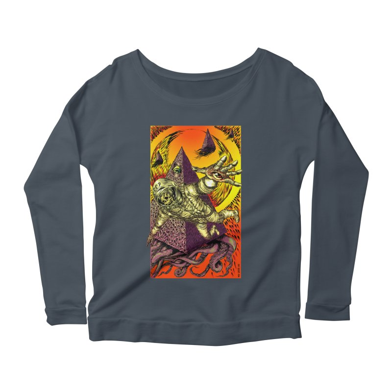Phantasmonaut Caught in the Tentacles of a Cosmic Paradigm Women's Scoop Neck Longsleeve T-Shirt by Nick the Hat
