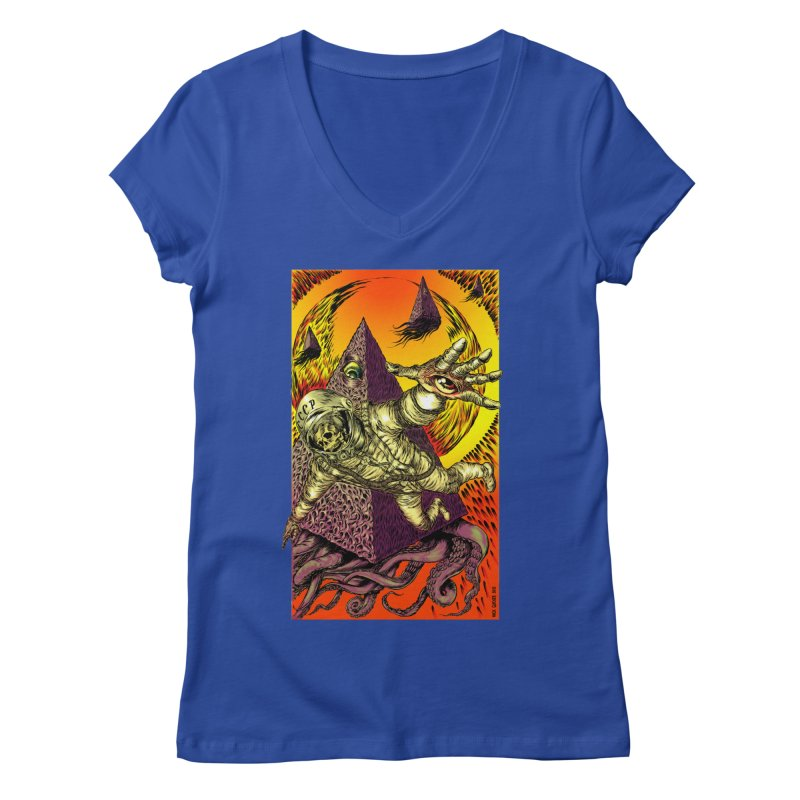 Phantasmonaut Caught in the Tentacles of a Cosmic Paradigm Women's V-Neck by Nick the Hat