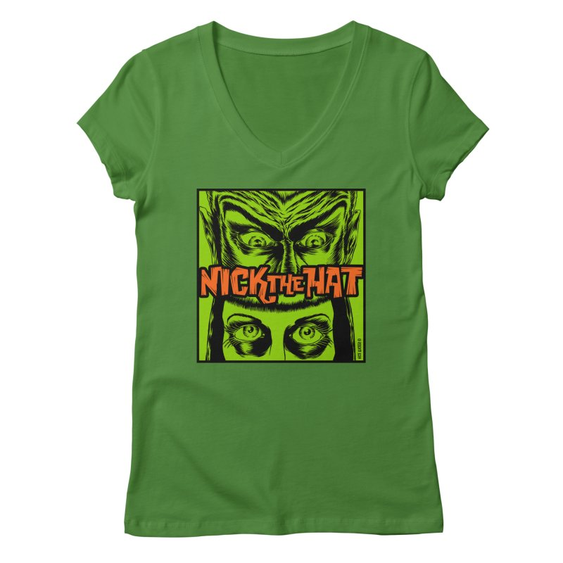 """Nick the Hat """"Sinister Eyes"""" Women's V-Neck by Nick the Hat"""