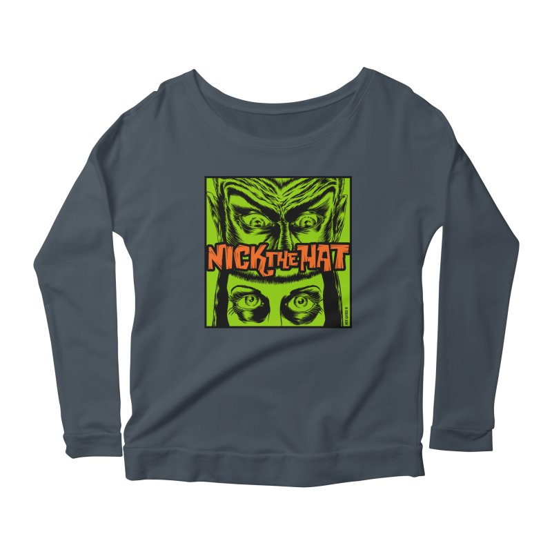 """Nick the Hat """"Sinister Eyes"""" Women's Scoop Neck Longsleeve T-Shirt by Nick the Hat"""