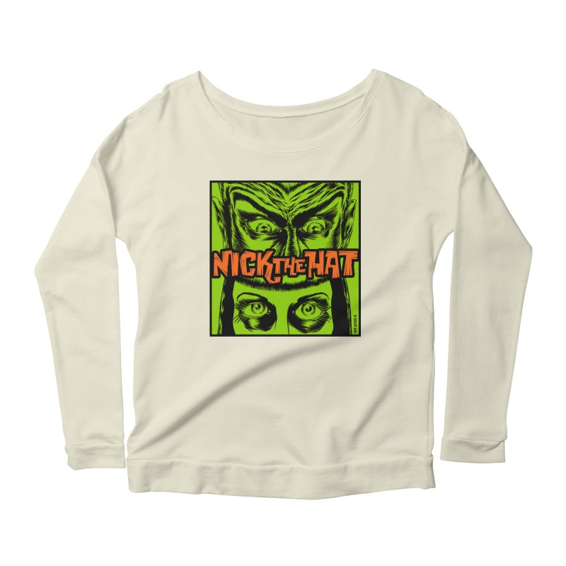 """Nick the Hat """"Sinister Eyes"""" Women's Longsleeve Scoopneck  by Nick the Hat"""