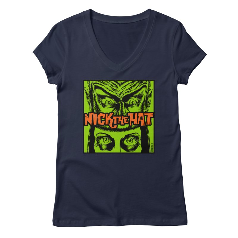 "Nick the Hat ""Sinister Eyes"" Women's V-Neck by Nick the Hat"