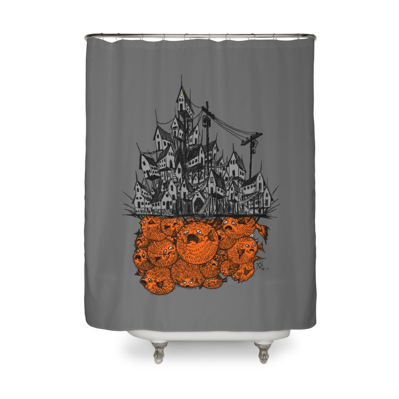 Pufferfish City Home Shower Curtain by Nick the Hat