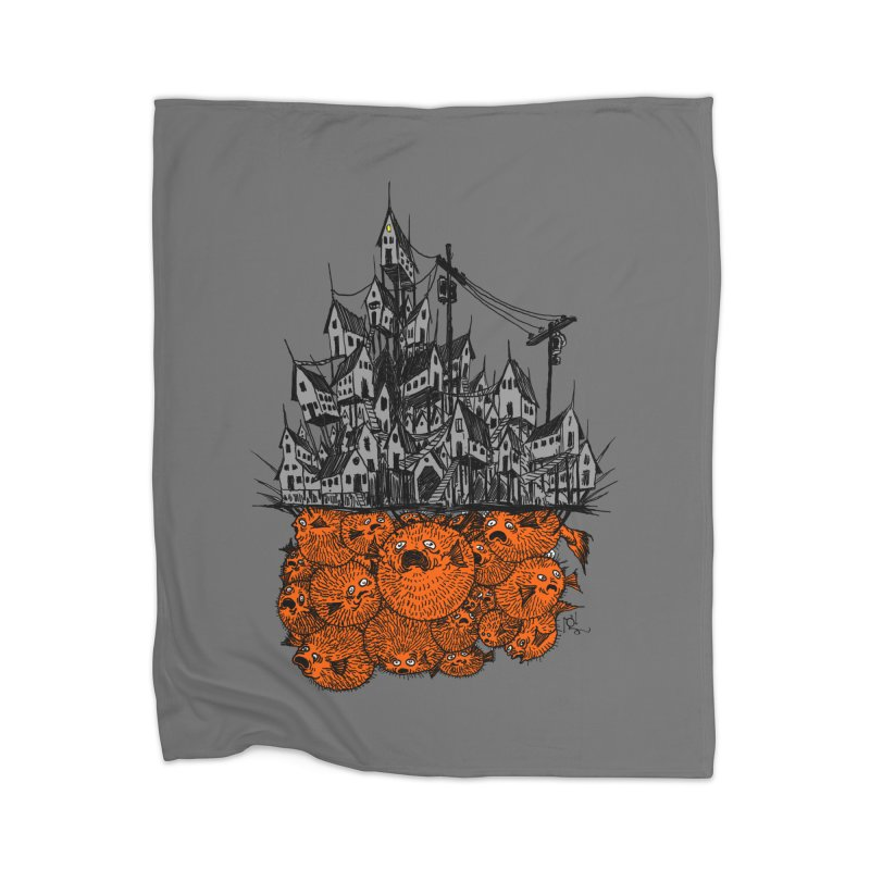 Pufferfish City Home Blanket by Nick the Hat