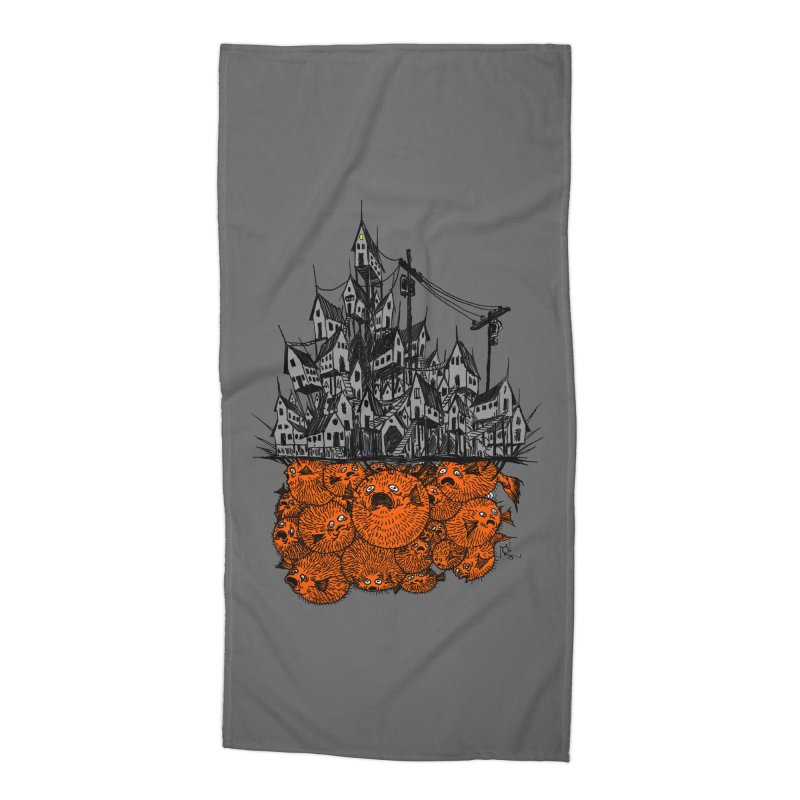 Pufferfish City Accessories Beach Towel by Nick the Hat