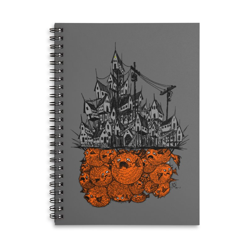 Pufferfish City Accessories Lined Spiral Notebook by Nick the Hat
