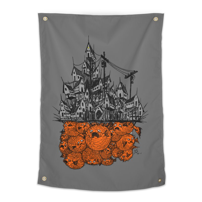 Pufferfish City Home Tapestry by Nick the Hat