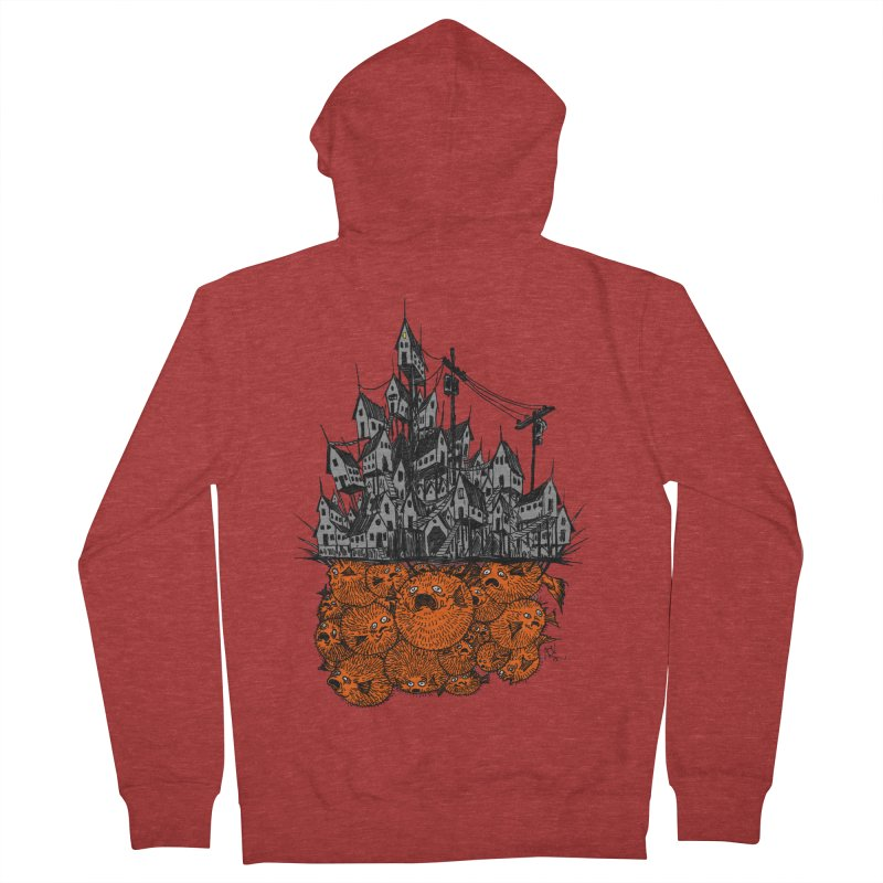 Pufferfish City Men's French Terry Zip-Up Hoody by Nick the Hat