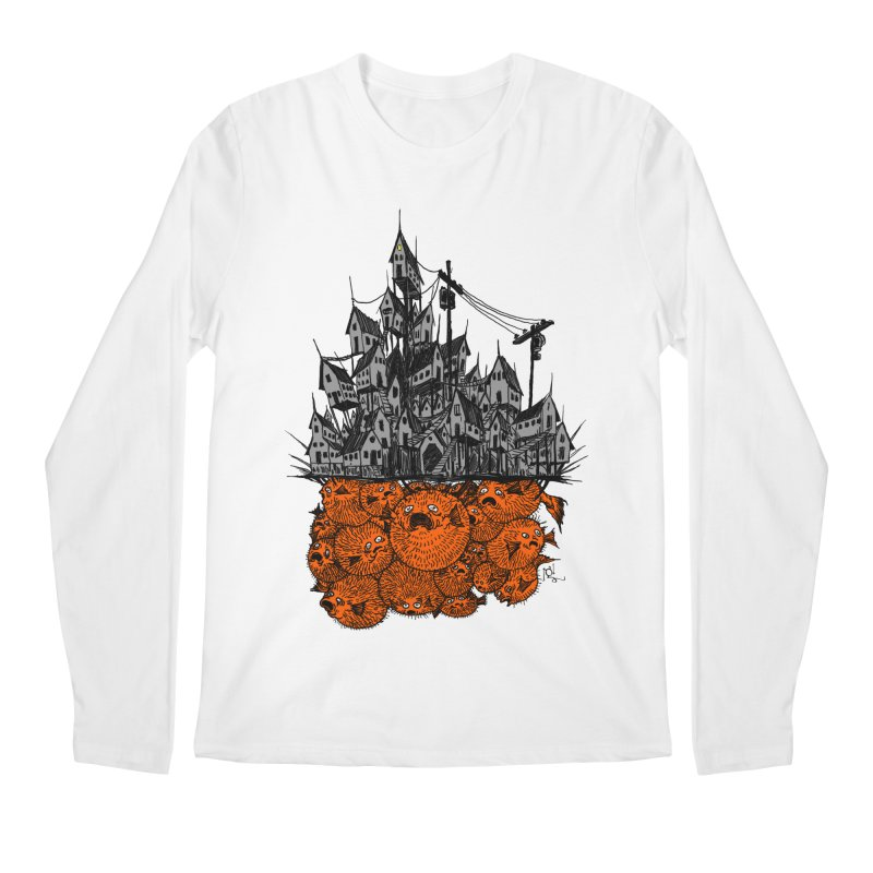 Pufferfish City Men's Longsleeve T-Shirt by Nick the Hat