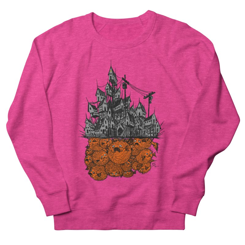 Pufferfish City Men's French Terry Sweatshirt by Nick the Hat