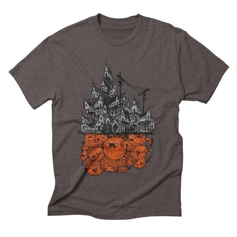 Pufferfish City Men's Triblend T-Shirt by Nick the Hat
