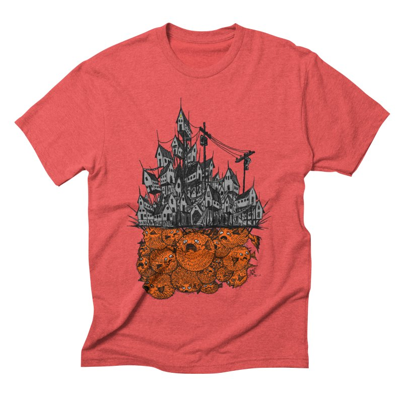 Pufferfish City Men's T-Shirt by Nick the Hat