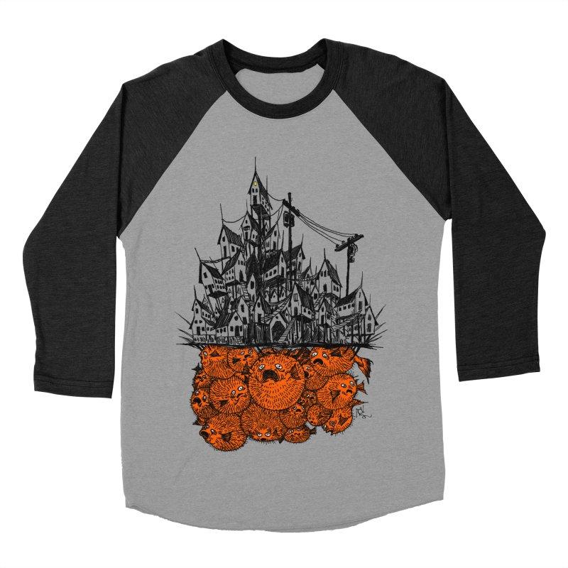Pufferfish City Men's Baseball Triblend Longsleeve T-Shirt by Nick the Hat