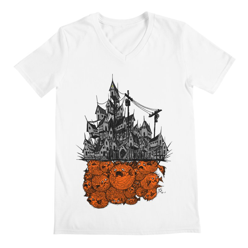 Pufferfish City Men's V-Neck by Nick the Hat