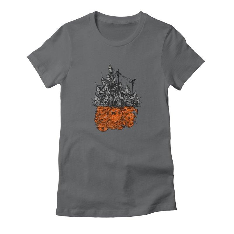 Pufferfish City Women's T-Shirt by Nick the Hat