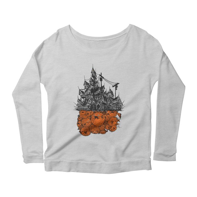 Pufferfish City Women's Scoop Neck Longsleeve T-Shirt by Nick the Hat