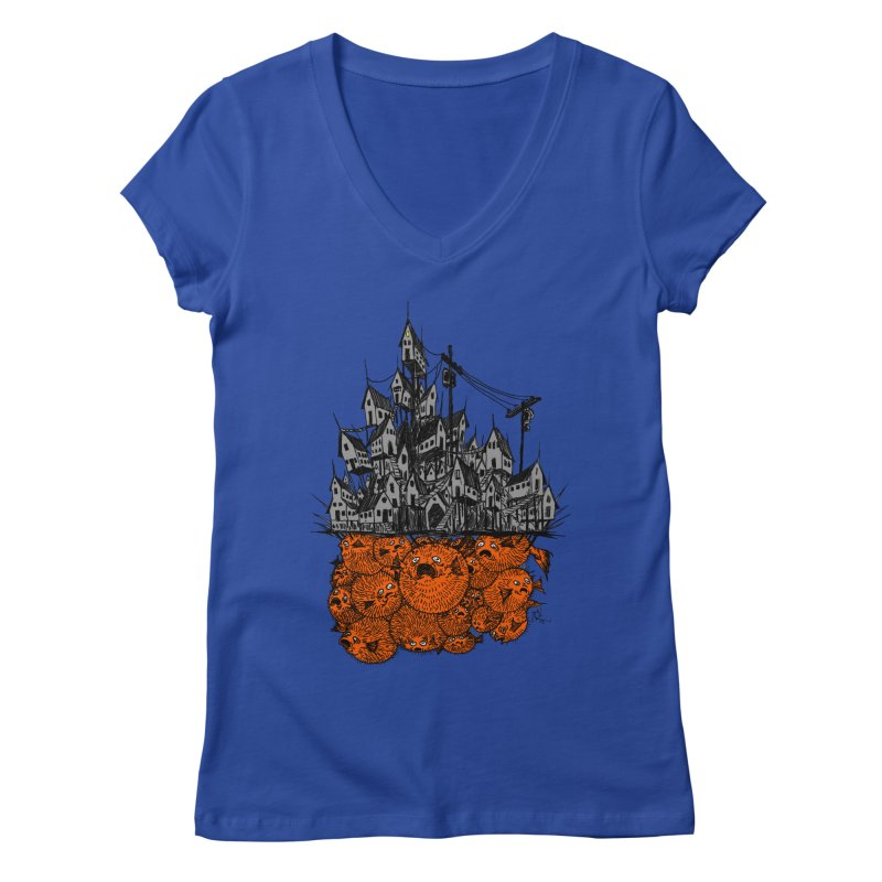 Pufferfish City Women's V-Neck by Nick the Hat