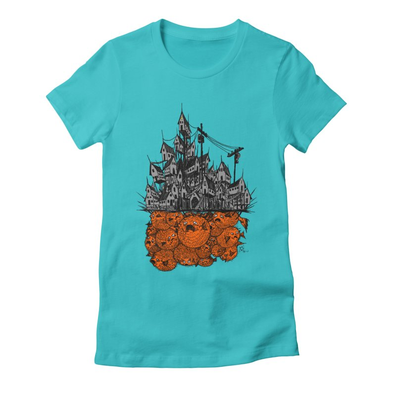 Pufferfish City Women's T-Shirt by Nick the Hat