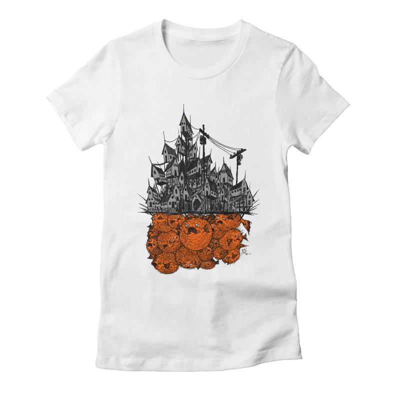Pufferfish City Women's Fitted T-Shirt by Nick the Hat