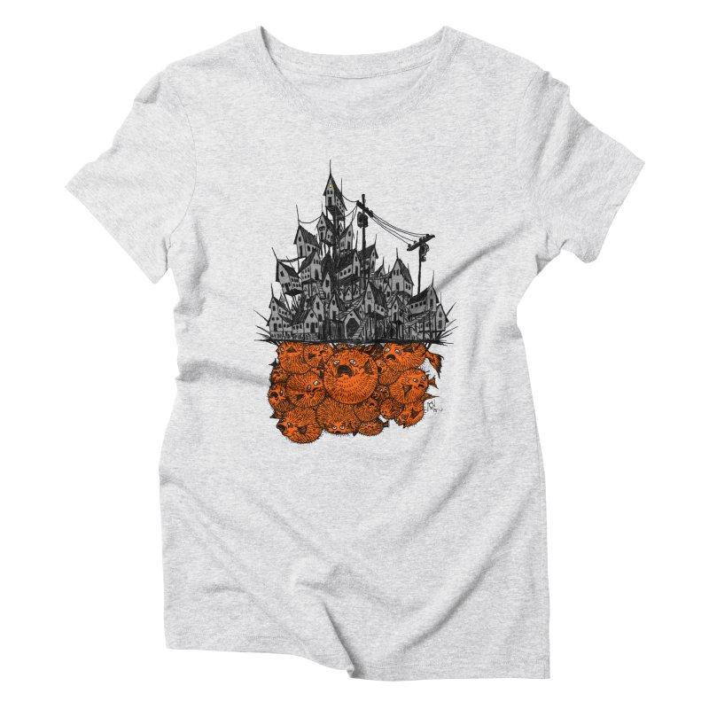 Pufferfish City Women's Triblend T-Shirt by Nick the Hat