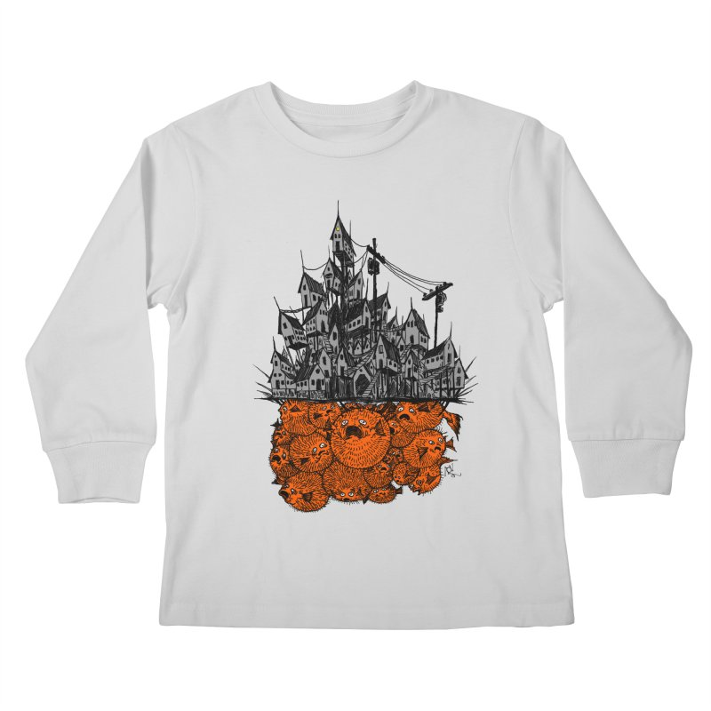 Pufferfish City Kids Longsleeve T-Shirt by Nick the Hat