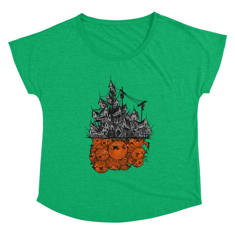 Pufferfish City Women's Scoop Neck by Nick the Hat