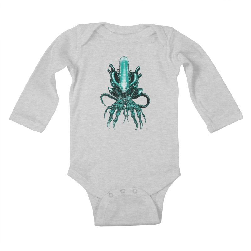 Xenomorph Kids Baby Longsleeve Bodysuit by Nick the Hat
