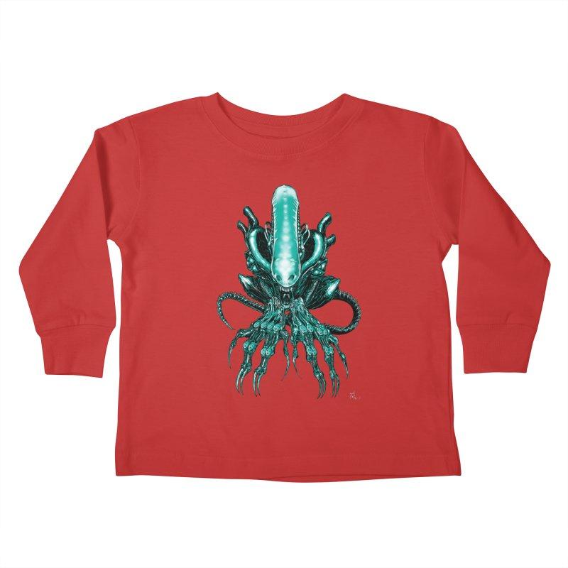Xenomorph Kids Toddler Longsleeve T-Shirt by Nick the Hat