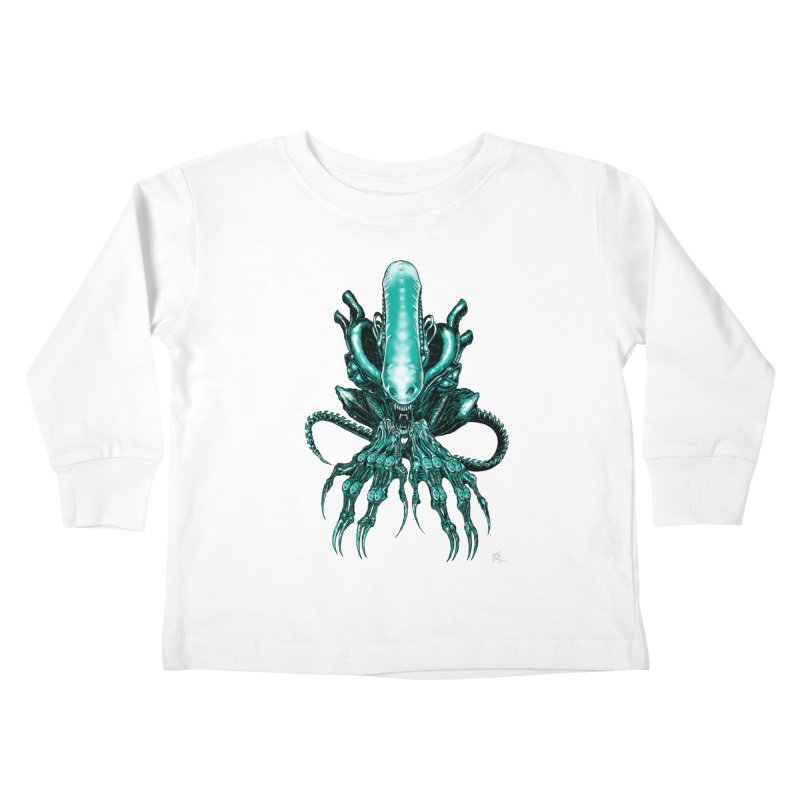 Xenomorph Kids Toddler Longsleeve T-Shirt by Nick the Hat