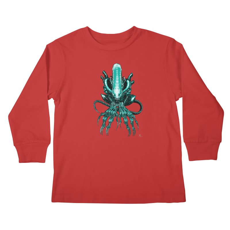 Xenomorph Kids Longsleeve T-Shirt by Nick the Hat