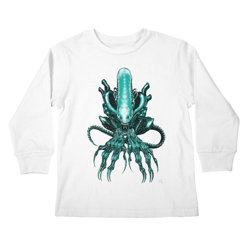 Xenomorph Kids Longsleeve T-Shirt by Nick the Hat