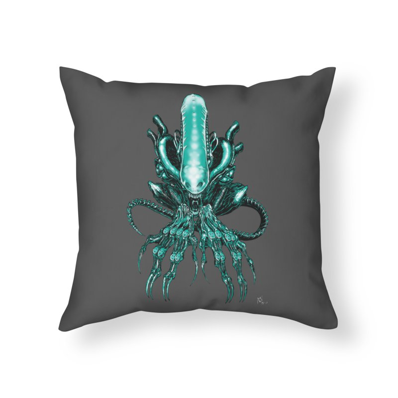 Xenomorph Home Throw Pillow by Nick the Hat