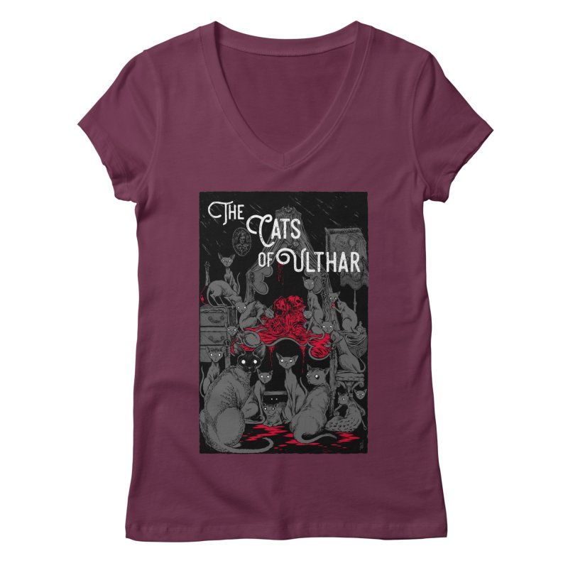 The Cats of Ulthar Women's Regular V-Neck by Nick the Hat