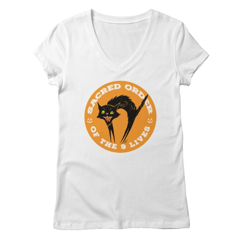 Sacred Order of the 9 Lives Women's V-Neck by Nick the Hat