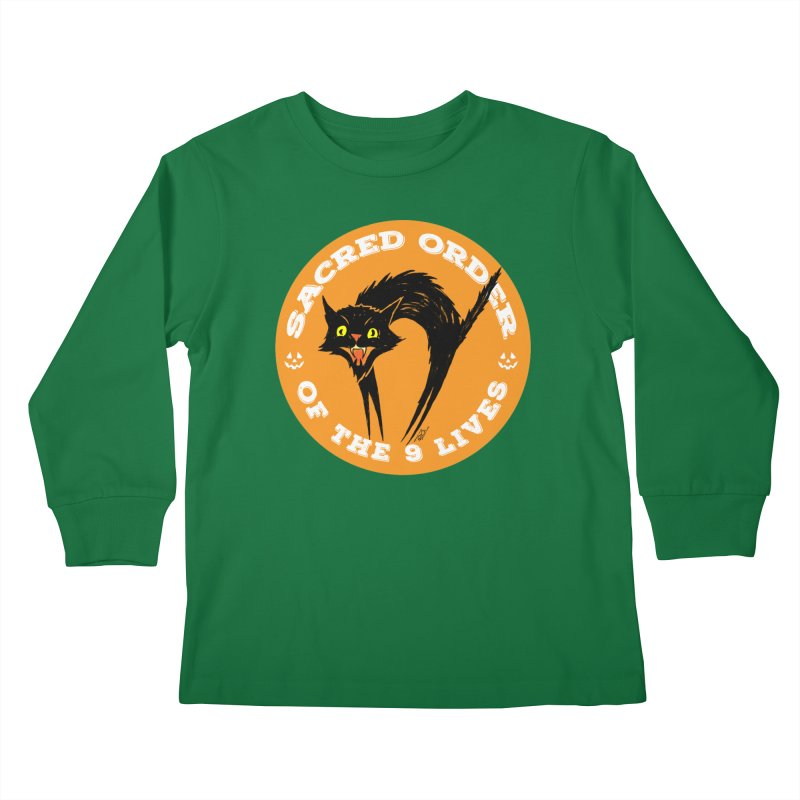 Sacred Order of the 9 Lives Kids Longsleeve T-Shirt by Nick the Hat