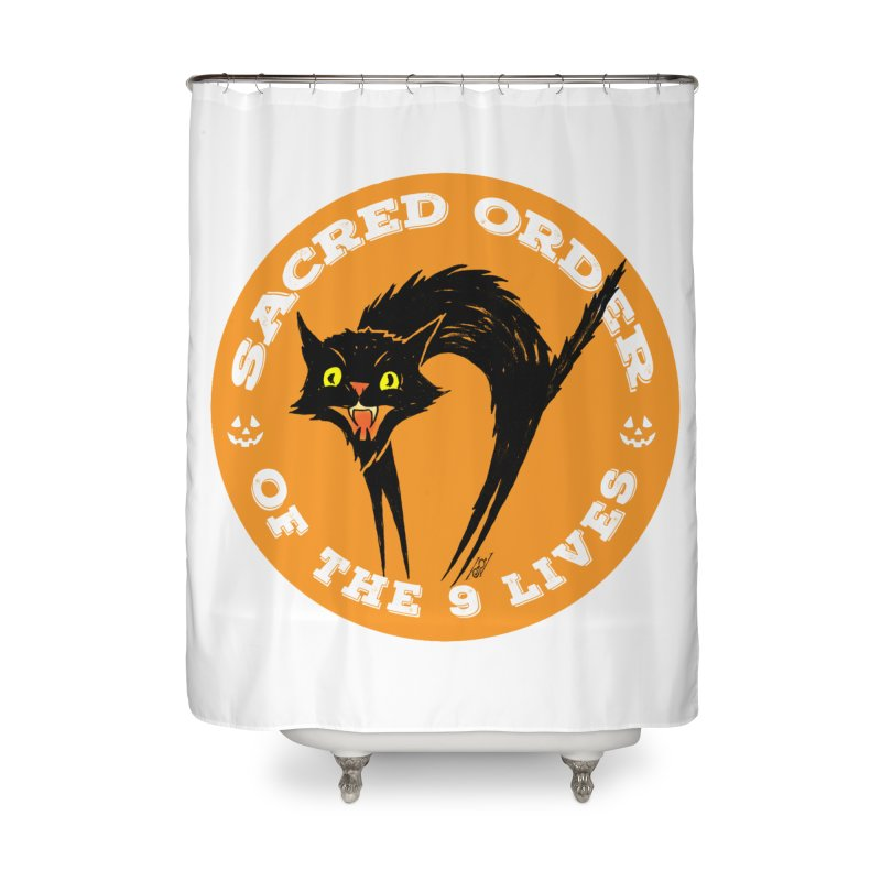 Sacred Order of the 9 Lives Home Shower Curtain by Nick the Hat
