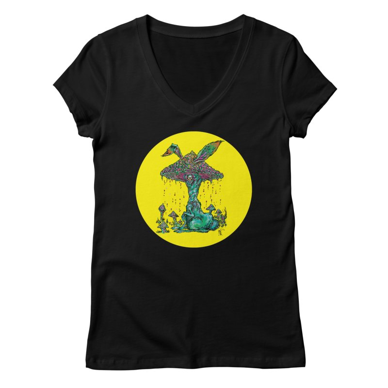 Fungal Bunny Women's Regular V-Neck by Nick the Hat