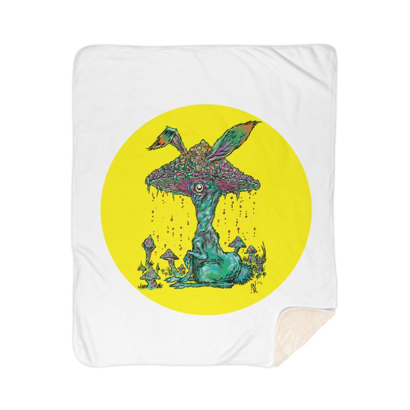 Fungal Bunny Home Sherpa Blanket Blanket by Nick the Hat