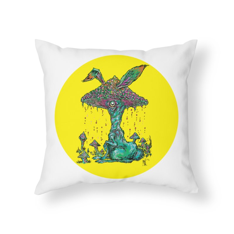 Fungal Bunny Home Throw Pillow by Nick the Hat