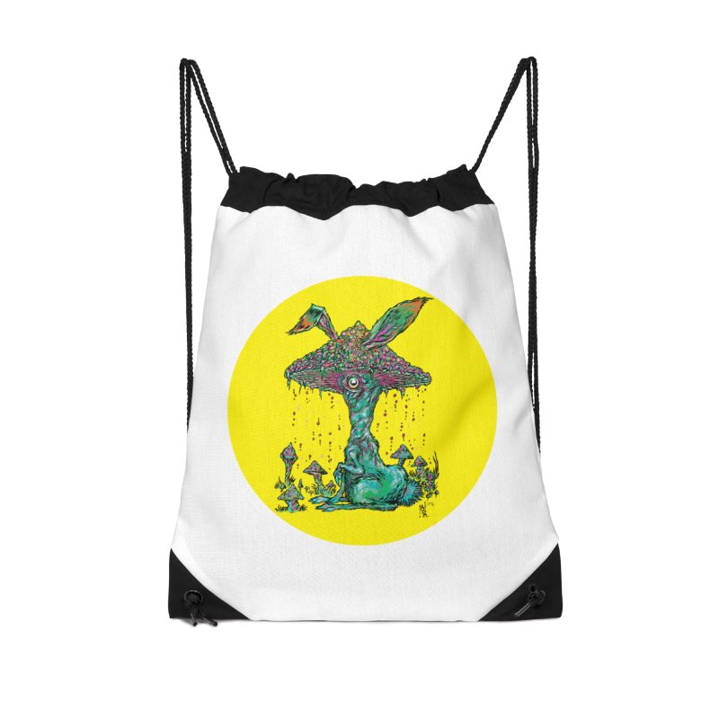 Fungal Bunny Accessories Drawstring Bag Bag by Nick the Hat